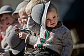 Children wearing traditional clothes, Viehscheid, Allgau, Bavaria, Germany