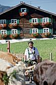 Man wearing traditional clothes, Viehscheid, Allgau, Bavaria, Germany