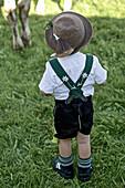 Boy wearing traditional clothes, Viehscheid, Allgau, Bavaria, Germany