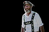 Man wearing traditional clothes, Viehscheid, Allgau, Bavaria, Germany