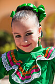 Young girl in traditional folklore costume, Loreto, Baja California Sur, Mexico