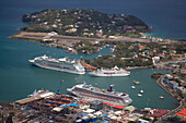 Aerial view of cruise ships Carnival Victory (Carnival Cruise Lines), Allure of the Seas (Royal Caribbean International) and MS Deutschland (Reederei Peter Deilmann), Castries, Castries, Saint Lucia