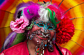With more than 9,500 piercings, Elaine Davidson is featured in the Guinness Book of World Records as the most pierced woman alive, Edinburgh, Scotland, United Kingdom
