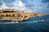 Siege Bell War Memorial and Abercrombie's Bastion seen from Grand Harbour entrance, Valletta, Malta