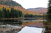 Autumn color at Monroe Lake, Park Mont Tremblant, Province Quebec, Canada