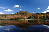 Autumn color at Monroe Lake, Park Mont Tremblant, Province Quebec, Canada