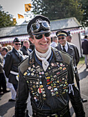 Visitor dressed as rocker, Goodwood Revival 2014, Racing Sport, Classic Car, Goodwood, Chichester, Sussex, England, Great Britain