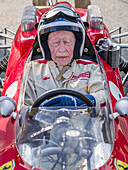John Surtees in a 1964 Ferrari 158, Goodwood Revival 2014, Racing Sport, Classic Car, Goodwood, Chichester, Sussex, England, Great Britain