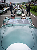 1959 Aston Martin DBR1, driver Tony Brooks (L) and Sir Stirling Moss (R), Jim Clark Parade, Goodwood Revival, racing, car racing, classic car, Chichester, Sussex, United Kingdom, Great Britain