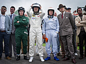 1.line, L to R, John Surtees, Dario Franchitti, Sir Jackie Stewart, Charles Gordon-Lennox, Earl of March and Kinrara, Goodwood Revival, racing, car racing, classic car, Chichester, Sussex, United Kingdom, Great Britain