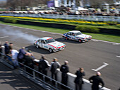 Two Ford Capri III, finishing straight, 72nd Members Meeting, racing, car racing, classic car, Chichester, Sussex, United Kingdom, Great Britain