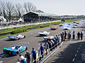 Start of historic Le Mans racing cars, 72nd Members Meeting, racing, car racing, classic car, Chichester, Sussex, United Kingdom, Great Britain
