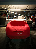 Paddock at night, 72nd Members Meeting, racing, car racing, classic car, Chichester, Sussex, United Kingdom, Great Britain