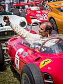 Emanuele Pirro making a selfie, five times winner of Le Mans, 1961 Ferrari 156 Sharknose, Goodwood Festival of Speed 2014, racing, car racing, classic car, Chichester, Sussex, United Kingdom, Great Britain