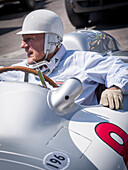 Sir Stirling Moss, Mercedes W196, Goodwood Festival of Speed 2014, racing, car racing, classic car, Chichester, Sussex, United Kingdom, Great Britain