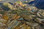 Aerial view of a lakes, rivers and colorful rhyolith mountains, geothermal area of Landmannalaugar, Laugarvegur, Highlands, South Iceland, Iceland, Europe