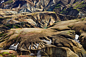 Aerial view of colorful, volcanic rhyolith mountains, geothermal area of Landmannalaugar, Laugarvegur, Highlands, South Iceland, Iceland, Europe