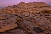 Desert landscape and natural basins in granite mountains of Bektau Ata, Sary Arka, Qaraghandy, Karaganda Region, Kazakhstan, Central Asia, Asia