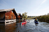 Family canoe touring on lake Staffelsee, Seehausen, Upper Bavaria, Germany