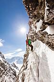 Skibergsteiger seilt sich ab, Neue-Welt-Abfahrt, Zugspitzmassiv, Ehrwald, Tirol, Österreich