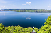 Kayak on Lake Starnberg in May, overlooking Tutzing, Bavaria, Germany