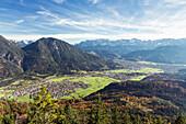 view from Schafskopf to the Alps, Farchant, Garmisch-Partenkirchen, Bavaria, Germany