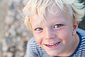 boy, 4 years old, laughing and smiling, summer, holiday, MR, Majorca, Balearic Islands, Spain, Europe