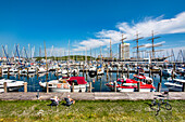 View across the Marina to a sailing ship, Hanseatic City, Luebeck Travemuende, Baltic Coast, Schleswig-Holstein, Germany
