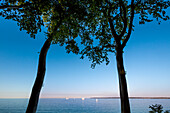 View from the coast towards the sea, Brodtener Ufer, Luebeck Travemuende, Baltic Coast, Schleswig-Holstein, Germany