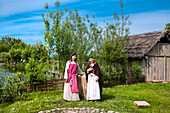Women in traditional clothes, Wallmuseum, Oldenburg, Baltic Coast, Schleswig-Holstein, Germany