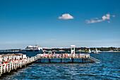 Restaurant Seebar with Norwegan Flag, Pier, Kiel, Baltic Coast, Schleswig-Holstein, Germany