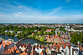 View towards the city gate Holstentor, Hanseatic City, Luebeck, Schleswig-Holstein, Germany