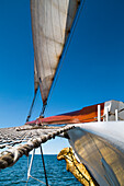 View from sailing boat, Hanseatic City, Luebeck, Travemuende, Baltic Coast, Schleswig-Holstein, Germany