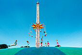 Theme park with swing carousel and trampoline, Hansapark, Sierksdorf, Baltic Coast, Schleswig-Holstein, Germany