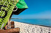 Beach with beach chair, Selendorf, Hohwacht, Baltic Coast, Schleswig-Holstein, Germany