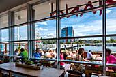 View from Vapiano restaurant towards harbour, Kiel, Baltic Coast, Schleswig-Holstein, Germany