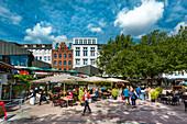 Cafes on the market square, Kiel, Baltic Coast, Schleswig-Holstein, Germany