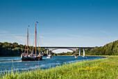 Sailing boats on the Kiel canal, Baltic Coast, Schleswig-Holstein, Germany