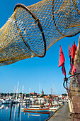 View through a fishing net towards the old town, Flensburg, Baltic Coast, Schleswig-Holstein, Germany
