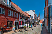Rote Strasse and St. Nikolai church, Flensburg, Baltic Coast, Schleswig-Holstein, Germany