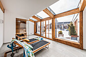 wellness area in the penthouse in a modern alpine style, Kitzbuehel, Tyrol, Austria, Europe