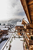 view towards Kitzbuehel from the penthouse terrace in a modern alpine style, Kitzbuehel, Tyrol, Austria, Europe
