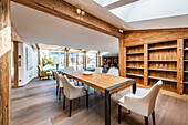 Dining room in a penthouse in a modern alpine style, Kitzbuehel, Tyrol, Austria, Europe
