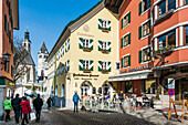 Shopping street in the old town Vorderstadt in Kitzbuehel, Tyrol, Austria, Europe