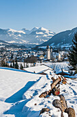 view to Kitzbuehel and the mountains, Tyrol, Austria, Europe
