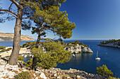 Calanque Port-Miou and bay of Cassis, Baie de Cassis, Cap de Aigle, cape, Bouches-du-Rhone, Cote d Azur, French Riviera, Mediterranean Sea, Provence, France, Europe