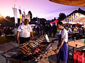 City festival along the Danube river with castle, Ingolstadt, Upper Bavaria, Bavaria, Germany