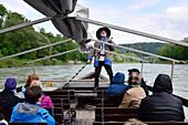 Boat ride on the Salzach river near Burghausen, Chiemgau, Upper Bavaria, Bavaria, Germany