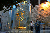 Golden Menora in the jewish quarter of the old town, Jerusalem, Israel