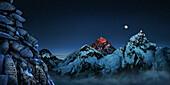 Night sky over snowcapped mountains, Sacred place with mani steine, Nuptse, Khumbu, Kala Patthar, Everest, Himalaya, Nepal, Asia